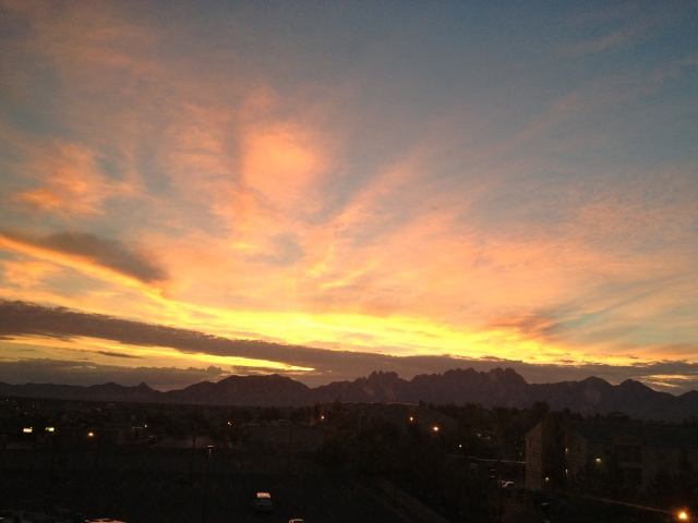 I was on the top floor of my hotel in Las Cruces, and set my alarm for 6am both mornings to watch the sun rise over the mountains.