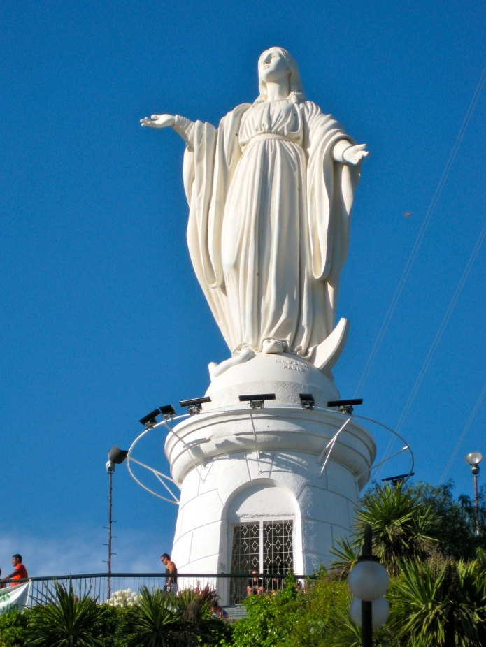 Statue of Mary at San Cristóbal Hill in Santiago