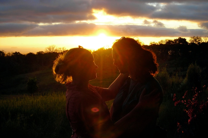 Romantic sunset shot