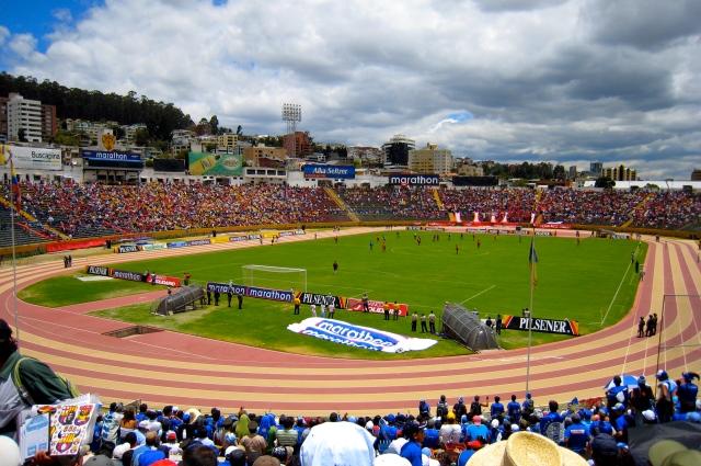 Estadio Olímpico Atahualpa for a game between El Nacional and Deportivo Quito