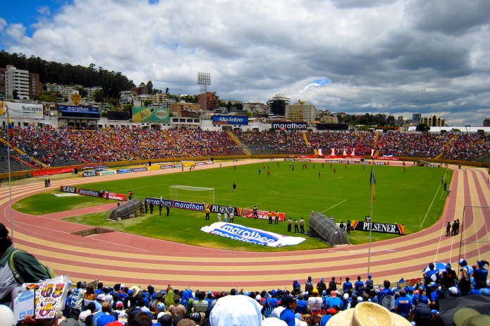 Estadio Olímpico Atahualpa for a game between El Nacional and Deportivo Quito