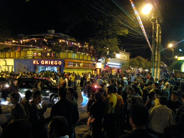 A crowded plaza during the annual Fiestas del Quito