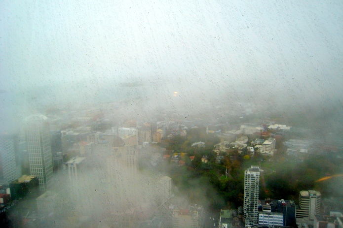 Foggy Auckland from the top of the Sky Tower